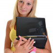 Blonde girl with laptop — Stock Photo