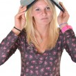 Foto Stock: Blonde girl with laptop