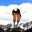 Flying freeskier on mountains — Stock Photo