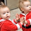 Baby in santa claus costume — Stock Photo