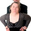 Down syndrome love couple isolated — Stock Photo #7228338