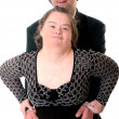 Stock Photo: Down syndrome love couple isolated