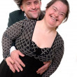 Down syndrome love couple isolated — Stock Photo