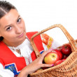 Portrait of young beautiful woman with apples — Stock Photo #7280263