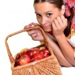 Stock Photo: Portrait of young beautiful woman with apples