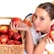 Portrait of young beautiful woman with apples — Stock Photo