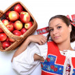 Portrait of young beautiful woman with apples — Photo