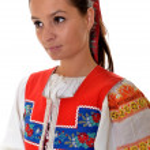 Attractive woman wears Slovakian national dress — Stock Photo