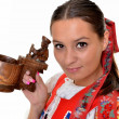 Traditional slovakian woman with dippers — Stock Photo #7280353