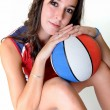Basketball player with ball, isolated on a white background — Stock Photo