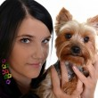 Girl with a dog — Stock Photo #7427200