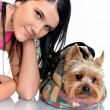 Beautiful young girl with cute yorkshire terrier dog, isolated on whi — Stock Photo #7427367