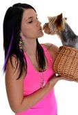 Young woman and sweet puppy playing around — Stock Photo