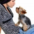 Young woman and sweet puppy playing around — Stock Photo #7458975