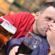 Down syndrome couple kissing — Stock Photo #7459140