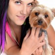 Young woman and sweet puppy playing around — Stock Photo #7463319