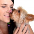 Young woman and sweet puppy playing around — Stock Photo #7463322