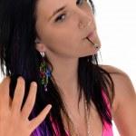 Beautiful young woman- white background — Stock Photo