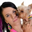 Woman and yorkshire terrier isolated on white background — Stock Photo