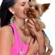 Woman and yorkshire terrier isolated on white background — Stock Photo #7481999