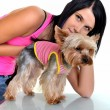 Stock Photo: Woman and yorkshire terrier isolated on white background