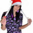 Stock Photo: Christmas woman in santa cap