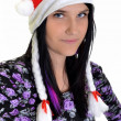 Christmas woman in santa cap — Stock Photo