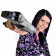 Woman with a gun isolated on a white background — Stock Photo
