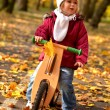 Baby in an autumn park riding bike — Stok fotoğraf