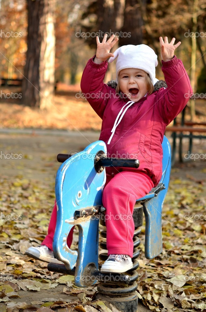 Nice little baby in an autumn park  — Stock Photo #7521711