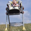 Little baby girl sitting in baby eating chair on nature — Stock Photo #7674828