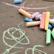Chalk in street — Foto de Stock