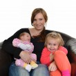 Picture of happy mother with her daughters over white — Stock Photo #7854844