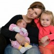 Picture of happy mother with her daughters over white — Stock Photo #7854856