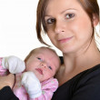 Picture of happy mother with baby over white — Stock Photo