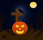 Halloween pumpkin and raven in cemetery during the full moon — Stock Vector