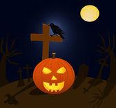 Halloween pompoen en raven in begraafplaats tijdens de volle maan — Stockvector