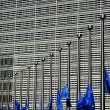 Flags of European Union in half-mast by the European Commission building — Stock Photo