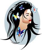 Ragazza di bellezza con farfalle tra i capelli — Vettoriale Stock