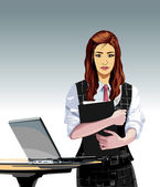 Office girl vector — Stock Vector