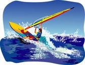 Windsurfer vector — Stock Vector