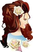 Piękna dziewczyna z motyle w jej włosy — Wektor stockowy