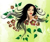 Beauty girl with butterflies in her hair — Stock Vector
