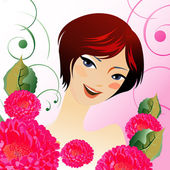Beauty girl with flowers — Stock Vector
