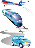 Set of vehicles: plane, car, train. Over white. — Stock Vector