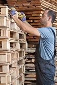 Uomo arraging pallet, verticale girato — Foto Stock