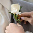 White Boutonnierre on Lapel - Stock Photo