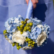 Bridesmaid with Blue Bouquet - Stock Photo