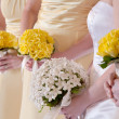 Bride and Bridesmaids with Bouquets - Stock Photo