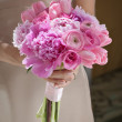 Bridesmaid with Pink Bouquet — Stock Photo